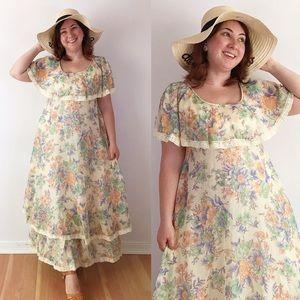 Cottagecore 70s Flutter Sleeve Floral Maxi Dress